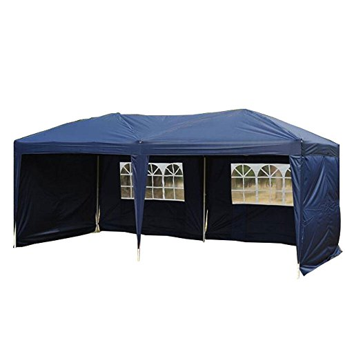 Goutime Uscanopy Easy Pop up Canopy Party Tent, 10 X 20-feet, W/4 Removable Sidewalls W/wheel Bag Navy Blue
