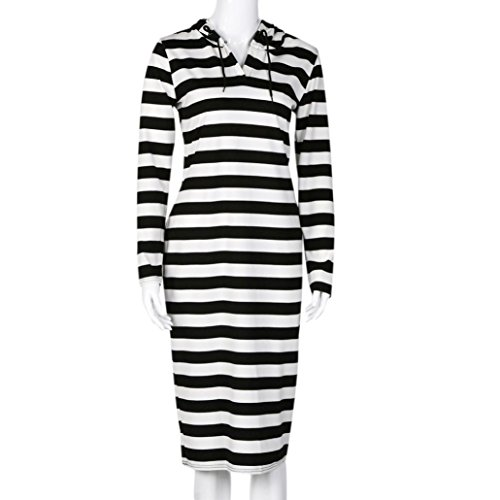 Culater Vestido De Manga Larga Casual Loose Dress Sudadera con Capucha Rayas