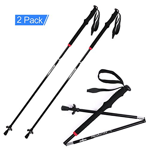 REDCAMP Aluminum Collapsible Walking Sticks,1 Year Warranty 1-pair, Foldable Easy Quick Twist Lock Hiking Poles for Camping Trail Trekking(New Black)
