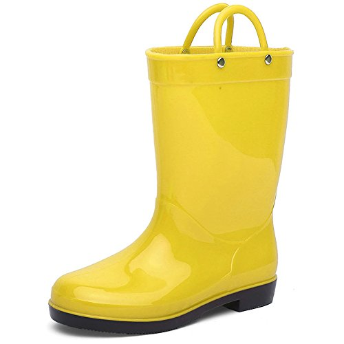CIOR Boys & Girls Rain Boots Durable Kids Waterproof Shoes Assorted Colors With Handles Easy On (Toddler/Little (Yellow Kids Boots)