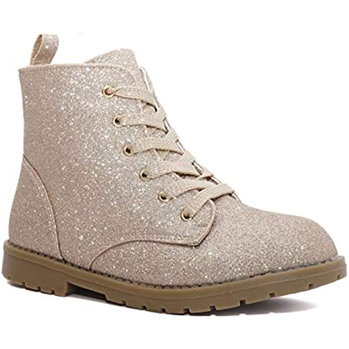 Girl's Glitter Lace Up Combat Boots - Low Heel Winter Shoes Toddler/Little Kids