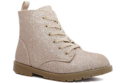 Charles Albert Girl's Glitter Boot Lace Up Low Heel Winter Shoes Toddler/Little Kids (3 M US Little Kid, Gold) for $<!--$19.88-->