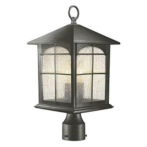 Brimfield 3-Light Outdoor Aged Iron Post Light (Lamp Posts Illuminated)