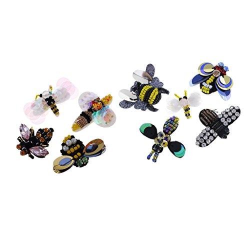Perfk アップリケ ラインストーン 手芸ビーズ 刺繍パッチ 衣類 刺繍 可愛い 服縫製 DIY 蜂 蝶 ユニーク 9枚セット