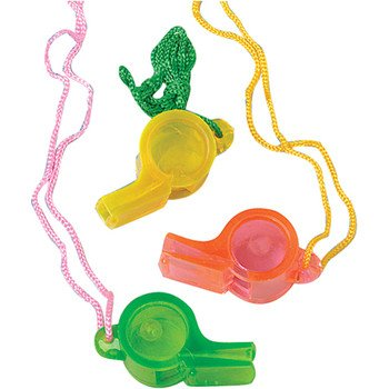 24x Translucent Whistles; Whistles for kids; individually packed; Great goody item; 2 in. L.