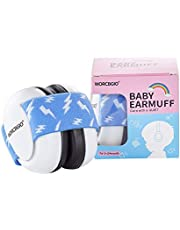 WORCBGIO 3-24 Months Infant Ear Protection Headphones with Adjustable Elastic Headband&Comfortable White Muffs,Baby Earmuff Help Sleep Well&Reduce Noise,Blue