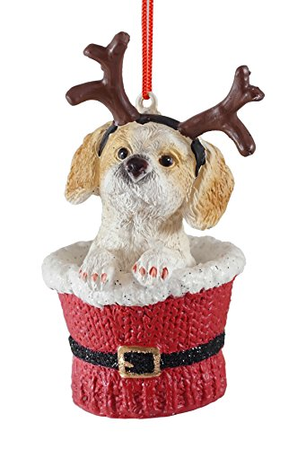 Cocker Spaniel Ornaments (Cocker Spaniel Puppy in Santa Cup Hanging Christmas Ornament)