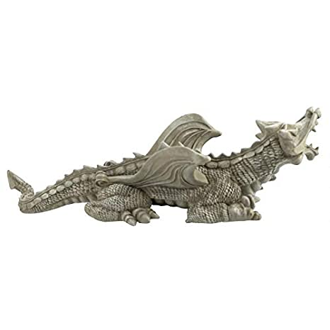 18 x 53.5 x 12.5 cm Design Toscano OS69860 Sculpture Dragon Warsin Blanc Cass/é