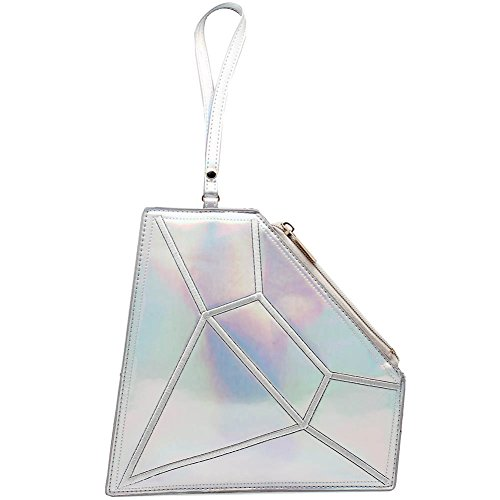 7 LUXE Diamond Hologram Wristlet Bag In Silver