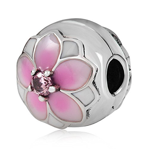 Gold Plated Cherry Blossom Charm Orchid Charm Spacer Bead 925 Sterling Silver Jewelry Clip Lock Stopper Spacer Charm Bead for Women Charms Bracelets (Genuine Beach Glass Necklace)