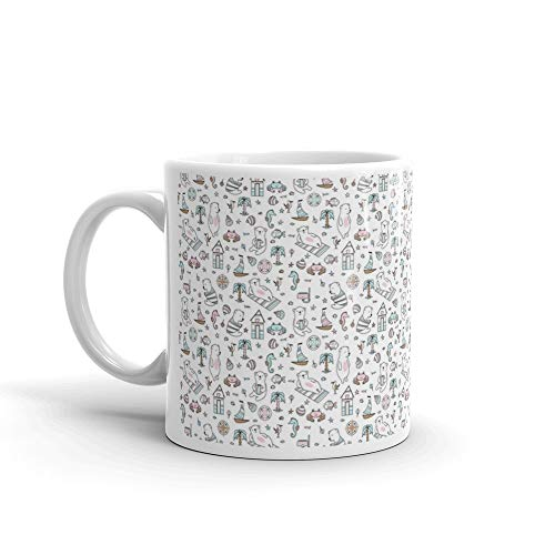 Summer Pattern With Cute Bears Bear Seamless Coffee Mug Ceramic 11 Oz