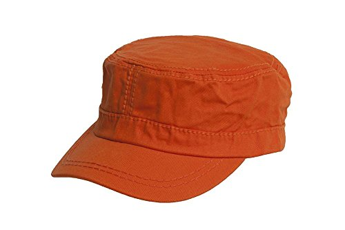 SS/Sophia Women's Washed Military Cadet Style Cap - Orange (Cap Military Orange)
