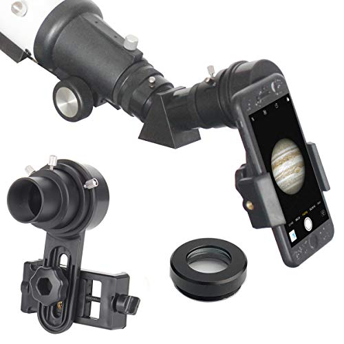 "Gosky 1.25"" Telescope Phone Adapter - 2019 Newest Updated Quick Aligned Smartphoto Adapter Mount for Refractor & Reflector Telescope with Built-in 1.5X Barlow Lens"