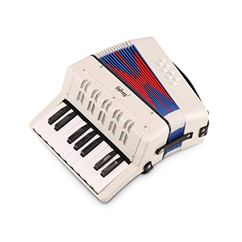 Mugig Piano Accordion, 17 Key Keyboard Piano with 8 Bass Button, include Air Valve, Adjustable Shoulder Strap, Kid Instrument for Early Childhood Development (White)