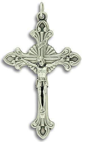 (LOT of 5 - Flared Sunburst Crucifix Cross Large 2-1/8 Pendant or Rosary Crucifix Catholic Made in Italy)