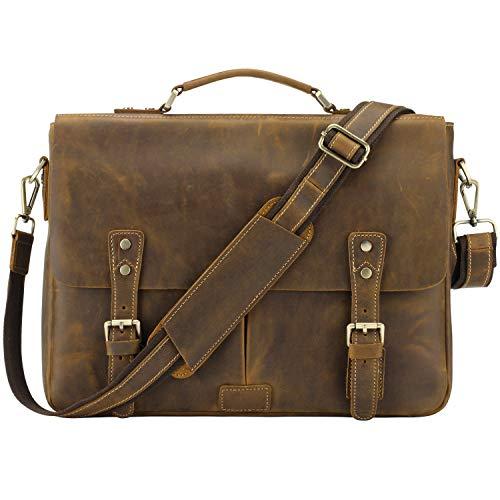 Jack&Chris Men's Leather Briefcase Messenger Bag 14