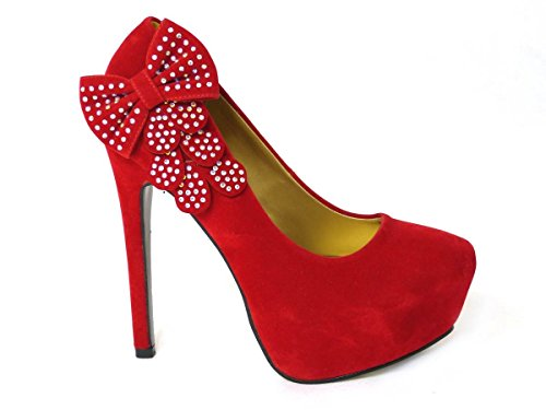 SKO'S New Womens Ladies 6 Inch Heel Platform Peep Toe Faux Suede Court Shoes Pumps Size 3-8 Red (8588-3) 9QQLectJ