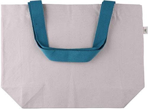 - Green Atmos 1 pack 20X15 inch with 24 inch long handle reusable beach, grocery bag 12oz cotton canvas tote eco friendly super strong washable great choice for promotion branding and gift (Aqua, 1)
