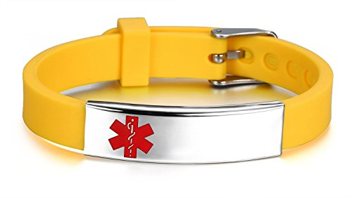 (JF.JEWELRY Medical ID Alert Bracelet for Women Silicone Band & Stainless Steel Tag Custom Engraved-Yellow)