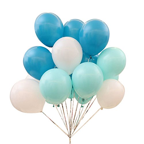 AnnoDeel 50 pcs 12inch Blue Balloons, 3 Color pearl Latex Balloons(Blue Balloons/Green Balloons/White) for Birathday Wedding Party Decoratons (Blue Silver And White Balloons)