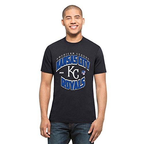('47 MLB Kansas City Royals Men's Diamond King Splitter Tee, Fall Navy, Medium)