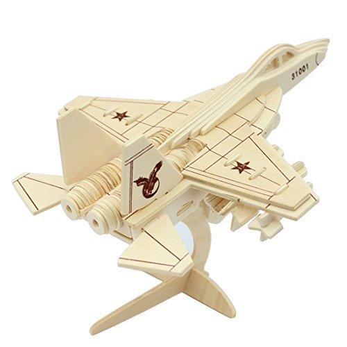MIfX Woodcraft Constructionキットギフトfor Childrenカラーデザイン教育DIYおもちゃ3d木製ジグソーパズルアセンブリモデル平面航空機飛行機Eagle Fighter