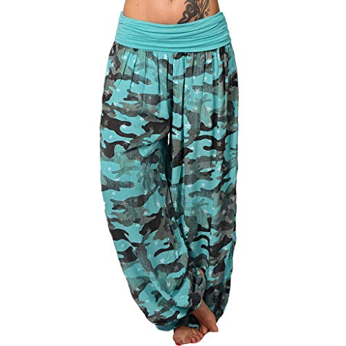 (Yoga Pants for Women,Summer Casual Camouflage Print Loose Wide Leggings Elastic Waist Trousers Harem Pants with Pocket)