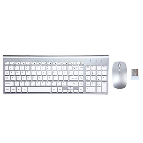 Wireless Keyboard and Mouse Combo, ORIGINTECH Full Size USB Whisper-Quiet Keyboard and Mouse Set Compatible with iMac Mac PC Windows Computer Laptop OS Notebook Desktop (Silver-2)