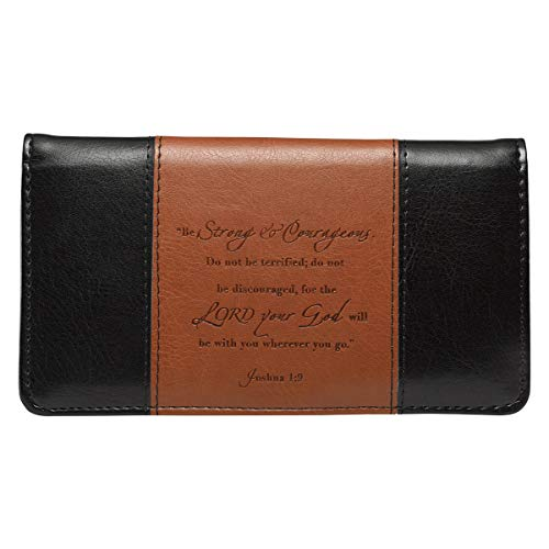 Checkbook Cover for Women & Men Strong & Courageous Christian Black and Tan Wallet, Faux Leather Christian Checkbook Cover for Duplicate Checks & Credit Cards - Joshua 1:9