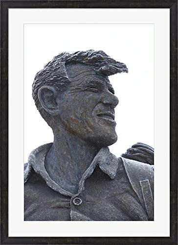 Sir Edmund Hillary Statue, South Island, New Zealand by David Wall/Danita Delimont Framed Art Print Wall Picture, Espresso Brown Frame, 27 x 37 inches (Walnut Hillary)