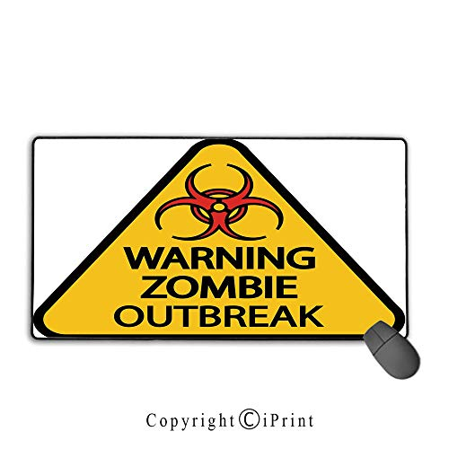 Stitched edge mouse pad,Zombie Decor,Warning Zombie Outbreak Sign Cemetery Infection Halloween Graphic Decorative,Earth Yellow Red Black,Suitable for laptops, computers, PCs, keyboards,15.8