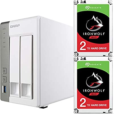 Qnap TS-231P-US Personal Cloud NAS Bundle Assembled and Tested with 4TB (2 x 2TB) of Seagate Ironwolf NAS Drives by CustomTechSales