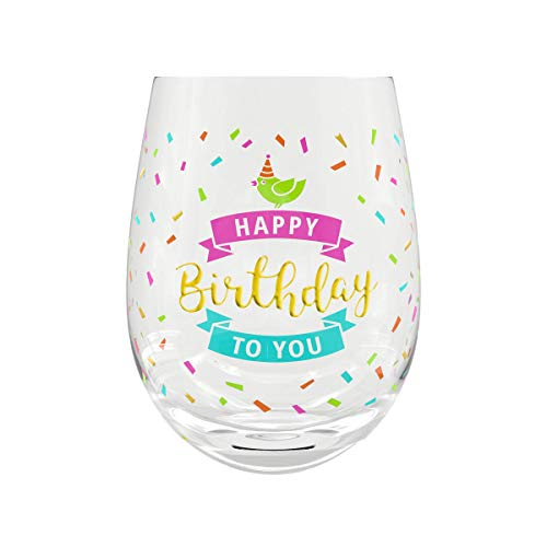 (Birthday Gift Wine Glass | Party Decorations for Anniversary, Fancy Celebration, & Birthdays | Stemless Vintage Glass for Men & Women | Sturdy Glassware with Fun & Colorful Design | 20 oz)