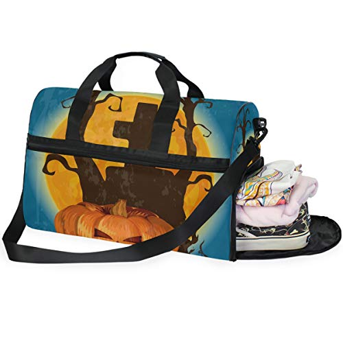 (JOYPRINT Halloween Pumpkin Tree Cartoon Duffel Bag, Large Travel Luggage Bag for Gym Sport With Shoes)