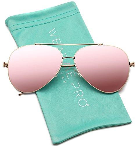 WearMe Pro - Flat Lens Mirrored Metal Frame Aviator Sunglasses