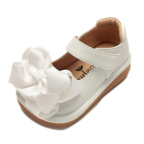 Mooshu Trainers Girls White Bow Squeaky Mary Jane Shoes 4 Baby - Baby Girl Squeaker Shoes
