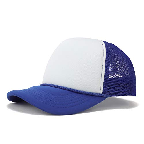 (Armycrew Kid's Two Tone 5 Panel Structured Foam Mesh Trucker Cap - Royal White)