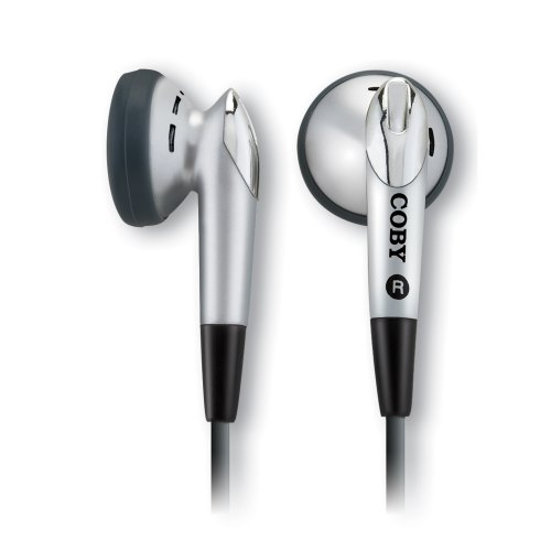 Coby CVE11Digital Stereo Earphones with Cord Wrap, Silver (Discontinued by Manufacturer)
