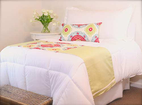 Twin Size Lime Green and Ikat Bed Runner Set, Perfect for a Childs Bedroom or a Guest Room, Cranberry, Lumbar Pillow with Turquoise Ikat Pattern