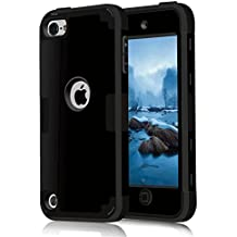 iPod Touch 6 Case, MCUK 3 In 1 Hybrid Cover Silicone Rubber Skin Hard Combo Bumper High Quality Scratch-Resistant Case Fit For Apple iPod Touch 5 6th Generation (Black)