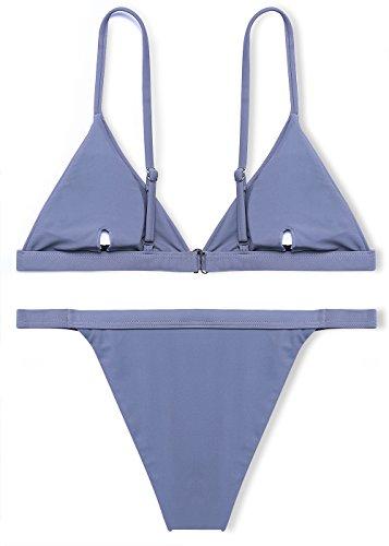 b3e71ee7e78 Jaci.Vela Sexy Triangle Bikini Set for Women(Light Grey-M) - Import ...