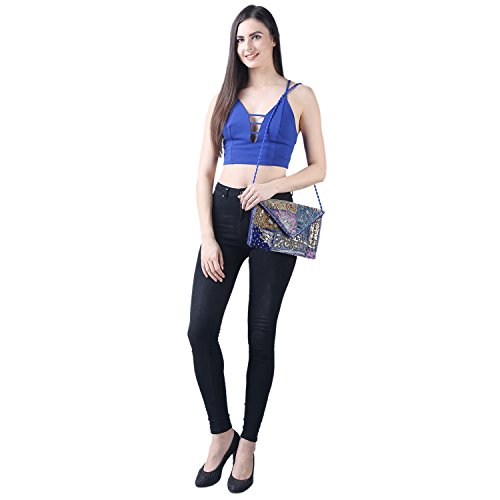 Blue handbag Brazeal Fashion Multicolored Evening Foldover Ethnic Royal Studio Women's Collection purse Envelope Embroidered Clutch rvr16q