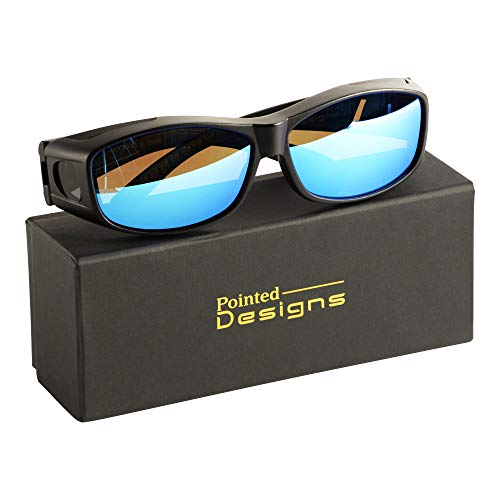 Over Glasses Sunglasses with Mirrored Lenses, Box and Cloth - Polarized Protection - Style - Pointed Glass
