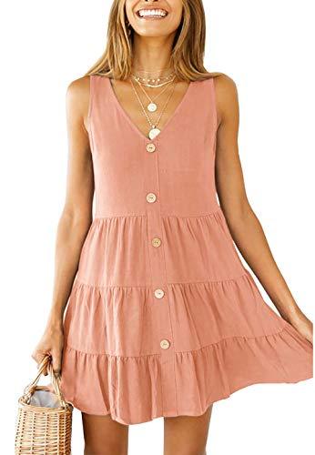 (OEUVRE Womens Juniors V Neck Sleeveless Button Down A Line Pleated Short Skater Dress Babydoll Ruffle Mini Dress Pink XL)