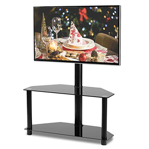 - Rfiver Black Corner Floor TV Stand with Swivel Mount Bracket for 32 37 42 47 50 55 inches Plasma LCD LED Flat or Curved Screen TVs, 2-Tier Tempered Glass Shelves for Audio Video, TW2001