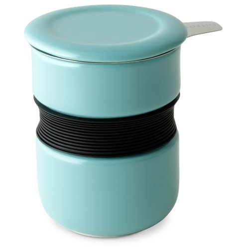 FORLIFE Curve Asian Style Tea Cup with Infuser and Lid 12 ounces, Turquoise