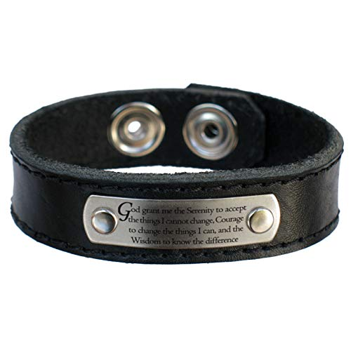 Serenity Prayer Leather Bracelet, Thick Dakota Leather for Men