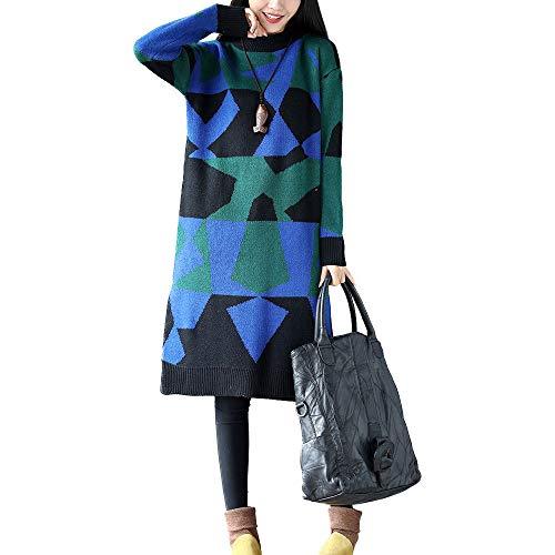 Pull Robe en Manches Longues Bleu Robe ITISME Coton Imprim Tricoter Camouflage Femmes Automne Et AwFqxdtR
