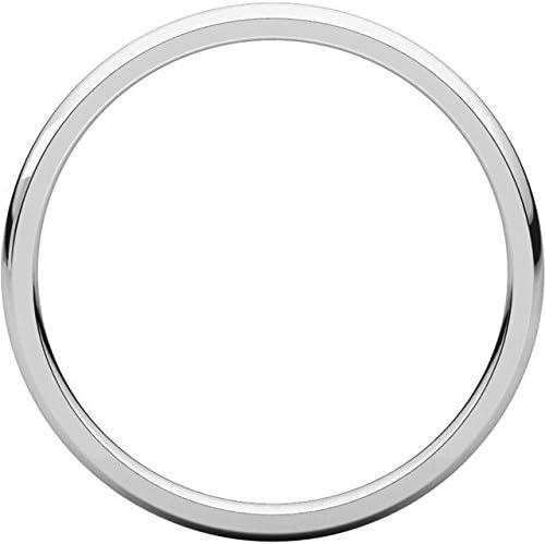 Mens Platinum 2mm Light Comfort Fit Domed Wedding Band Ring