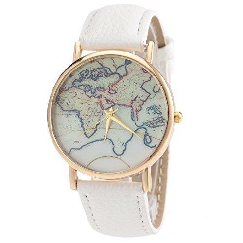 Aivtalk Womens Leather Watch Brand Leather Strap Retro World Map Quartz Wrist Watch - White